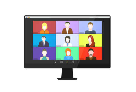 Video conference on the tablet screen. Beautiful avatars for profiles. Illustrations flat design concept video conference. online meeting work form home. Home education, distance learning.