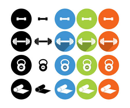 Sports equipment flat icons set for web and mobile. Set of kettlebell and dumbbell weights. Punching bag and boxer. soccer player kicking the ball. 矢量图像
