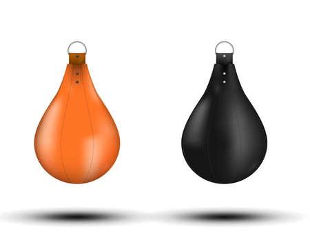 Black Punching Bag 3d illustration 3d. Punching bag black on white background realistic vector