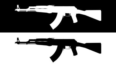 Assault rifle. Flat illustration icon. Vector illustration of a AK-47 assault rifle. Set of weapons on a black and white background. Firearms terrorism concept.