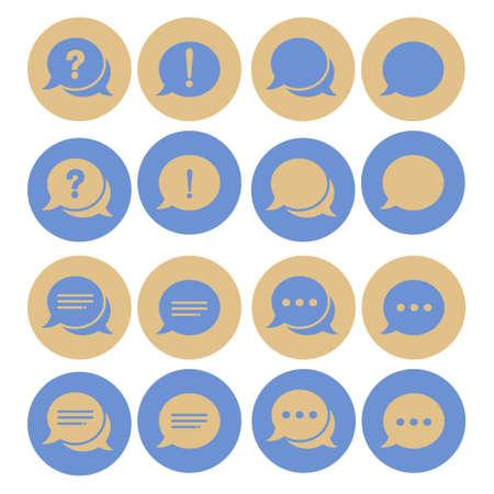 Chat sign icon. Speech talk bubble symbols. Chat bubbles. Dashed line decoration.