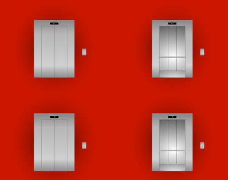 Open and Closed Modern Metal Elevator Doors. Hall Interior in Gray Colors. Vector metal elevator outside and inside on a red wall background. Ilustrace