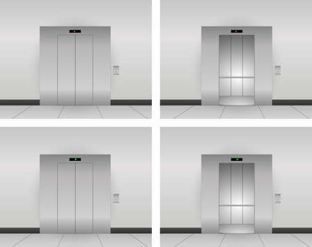 Vector metal elevator outside and inside on a white wall background. Modern steel elevator 3d.