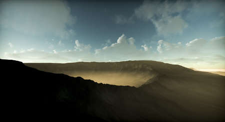 Sunrise over the mountains landscape sky 3D Render. Sand dune with interesting shades and texture before desert landscape during midday sun