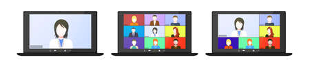Set Video conference on the laptop screen. Beautiful avatars for profiles. Illustrations flat design concept video conference. online meeting work form home. Home education, distance learning. Vector