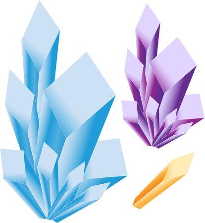 Quartz Amethyst Citrine Crystal Cluster Crystal Point Blue Purple Yellow Orange Vector
