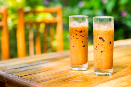 Iced coffees on a hot day outdoors