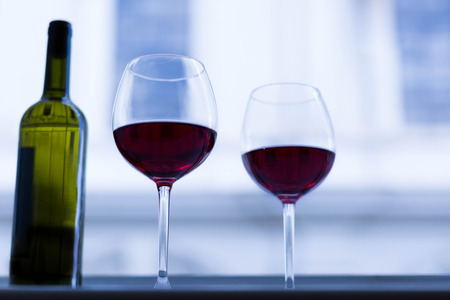 Close up of wine glasses of red wine. Stock Photo