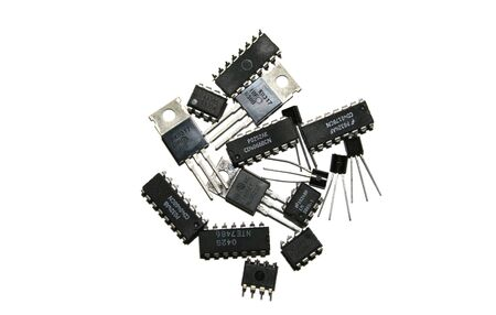 Several electronic components over a white background 版權商用圖片