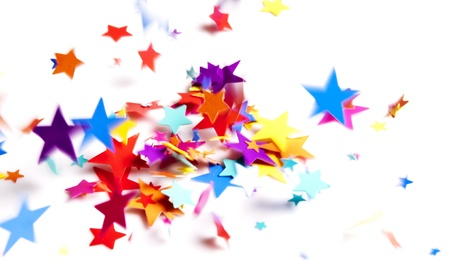 falling star: colored stars confetti falling on white Stock Photo