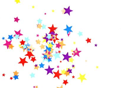 falling star: colored stars confetti on white