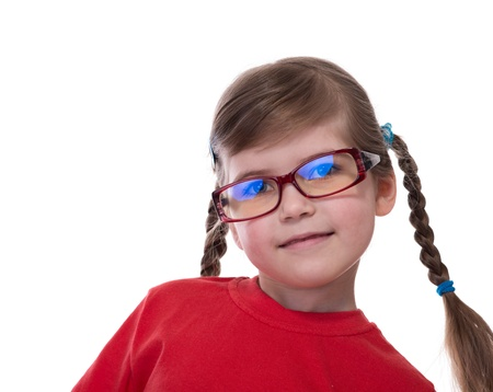 close up portret of little girl wearing glasses isolated on white photo