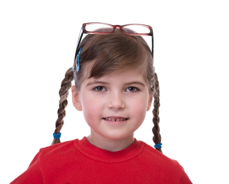 close up portret of little girl with glasses on top of head isolated on white photo
