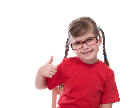 red tshirt: little girl wearing red t-shirt and glass showing thumb isolated on white Stock Photo