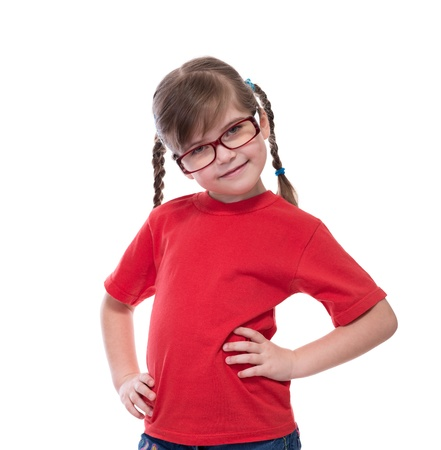 portret of little cute girl wearing glasses isolated on white photo