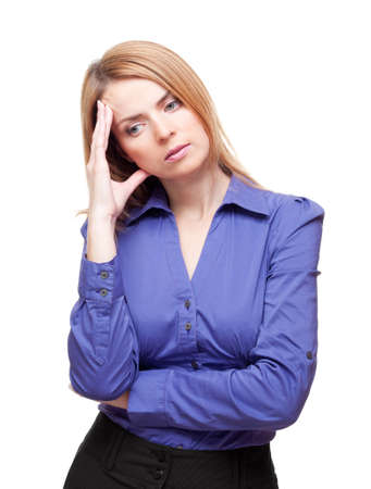 preoccupied: Young woman standing tilt head and has got an headache in studio Stock Photo