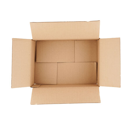 topdown: top down view of open empty cardboard box isolated on white