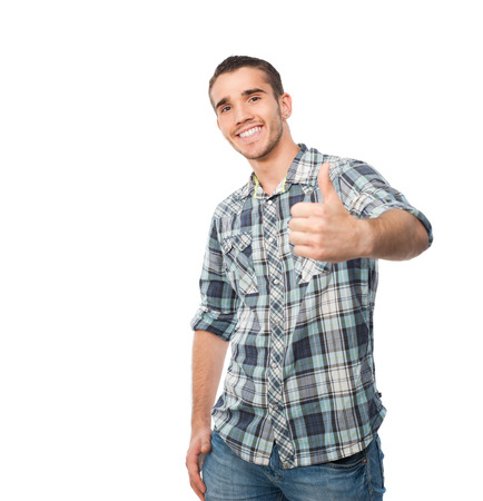 allright: young man standing in front of camera showing thumb up sign