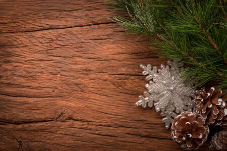 old items: composition of xmas items on old wooden table