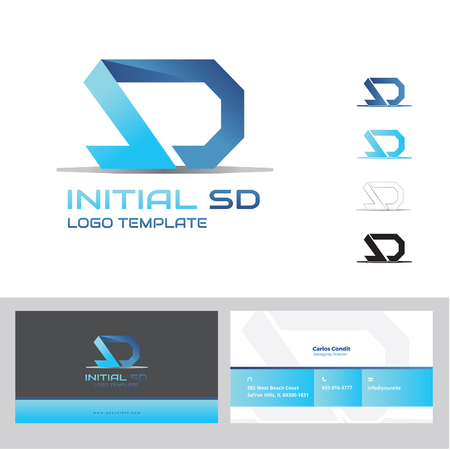 sd card: initial SD logo with business card Illustration