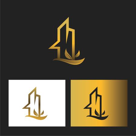 Gold real estate logo with leaves Illusztráció