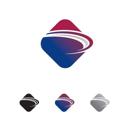 abstract rounded rectangle with swoosh logo Vector illustration. Illusztráció