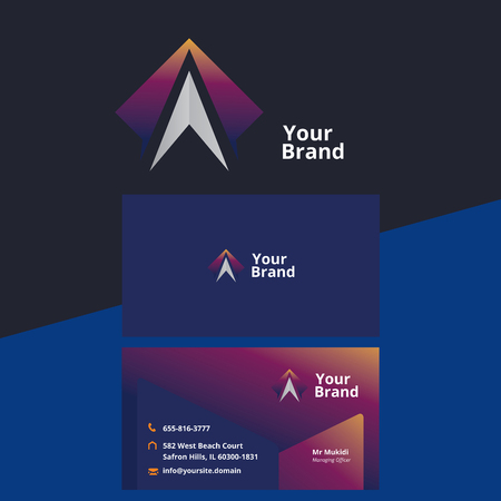 abstract arrow up logo with business card Vector illustration. Illusztráció