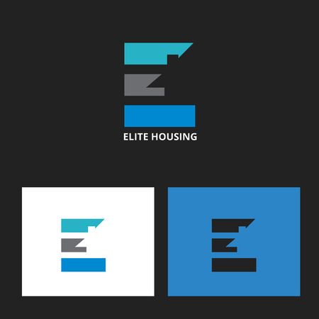 Letter E symbol with subtle house in negative space