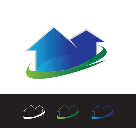 A simple and fun logo of real estate on plain background.