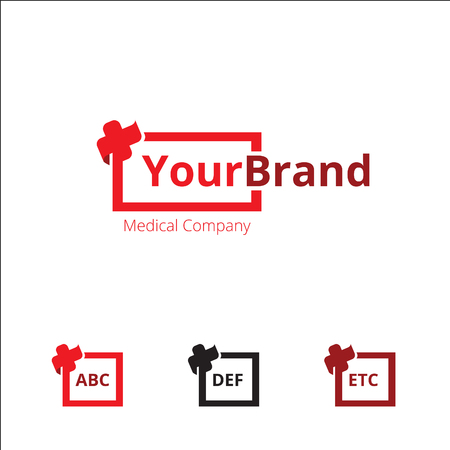 Simple unique medical with box and cross icon Illusztráció