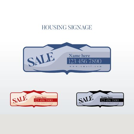 signage or for sale sign for housing Illusztráció