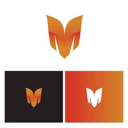 creative wing-like letter M logo