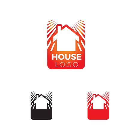 simple house logo with sun ray background