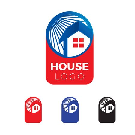 creative and fun house logo with sun ray at background