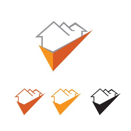 creative three houses with check mark logo or icon