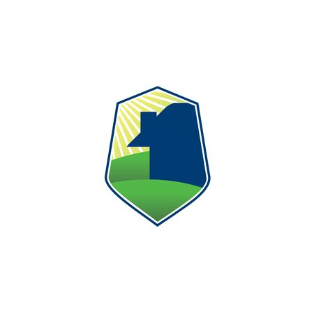 logo or icon of safe house and scenery background in a shield