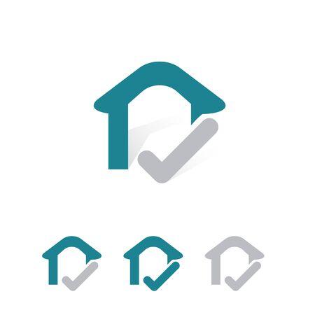 simple and fun house logo with check mark Illusztráció