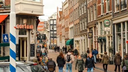 Kloveniersburgwal street, Oorlam cafe. Amsterdam.
