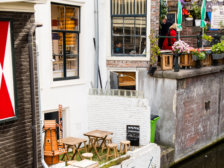 A small street cafe in Amsterdam, a view of the canal-2