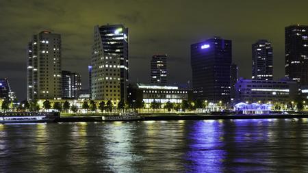 Rotterdam, The Netherlands - May 2017: Boompjeskade at night from the island Noordereiland