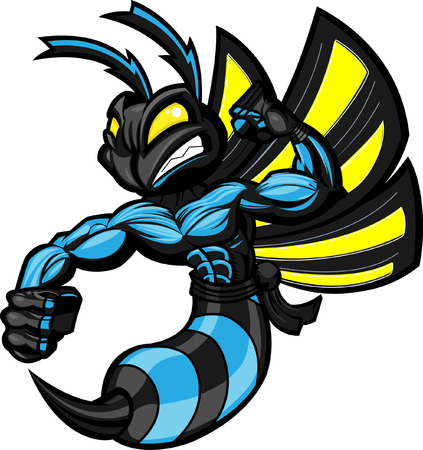 mascots: Fighting Hornet in battle ready position. Separated into layers for easy editing.