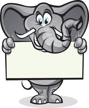 huggable: Cute elephant holding up a sign. Separated into layers for easy editing.