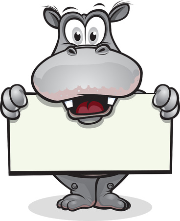 Hippopotamus mignons maintient-il signe.Séparés en couches pour un montage facile. Banque d'images - 7673898