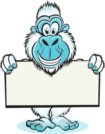 yeti: Lustige Bild von Yeti holding blank sign Illustration