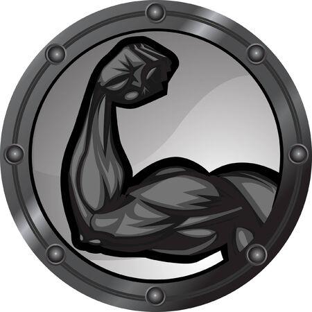 근육질의 bicep flexing. 팔은 배경 요소와 별도의 레이어에 있습니다. 일러스트