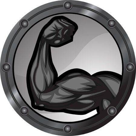 Muscular bicep flexing. The arm is on separate layers as are the background elements. 版權商用圖片 - 7673895