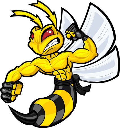 villain: Fighting Hornet in battle ready position. Separated into layers for easy editing.