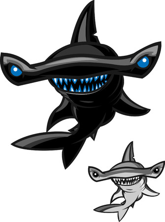 hammerhead: Hammerhead shark with two different color styles.