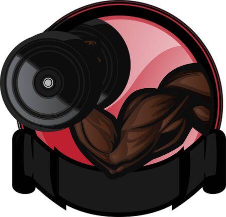bicep: B�ceps muscular flexi�nrealizando curl de brazo. El brazo y dumbell son en capas independientes como los elementos de fondo. Vectores