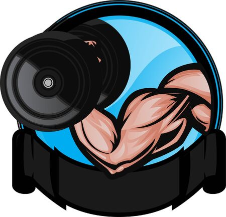 Muscular bicep flexingperforming arm curl. The arm and dumbell are on separate layers as are the background elements. Illustration